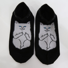 Awesome Japanese Harajuku giving the Middle Finger Cat Ankle Socks