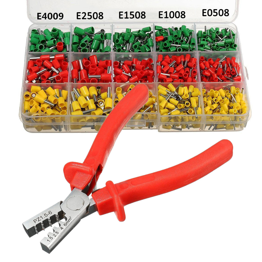 990pcs Crimp Terminal Wire Connectors + Ferrule Crimper Plier Crimping Tool Kit Set Yellow Red Green dwz new 6 50mm lx 50b wire terminal crimper tool cable lug crimping plier connector