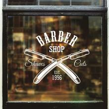 Hombre Barber Shop pegatina tiempo nombre Chop bread Decal haircut posters vinilo Wall Art decalques Ventanas decoracion mural13