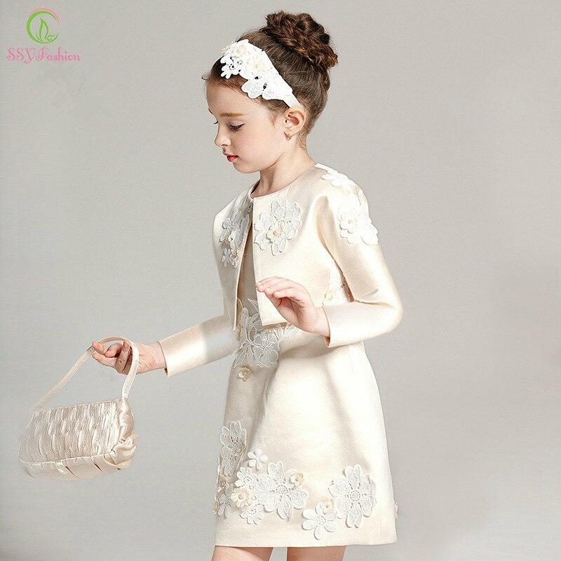 SSYFashion High-grade Two-piece Children   Dress   Long Sleeved   Flower     Girl     Dresses   for Wedding Birthday Party   Dress   Coat+  dress