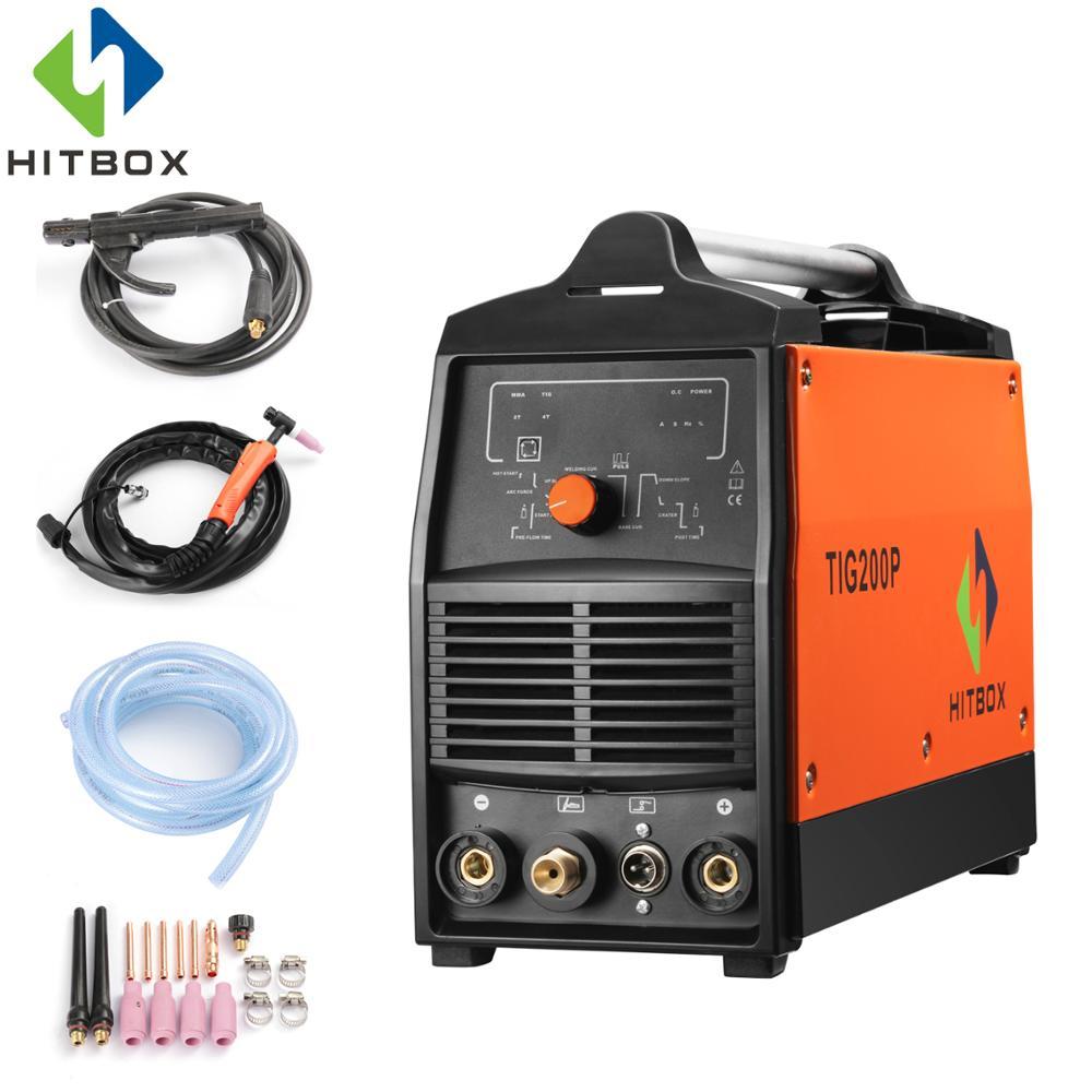 HITBOX Tig Saldatore Saldatura Macchina TIG200P Con TIG Pulse TIG E MMA Funzione 220 v Saldatrice Inverter Con Controllo Digitale