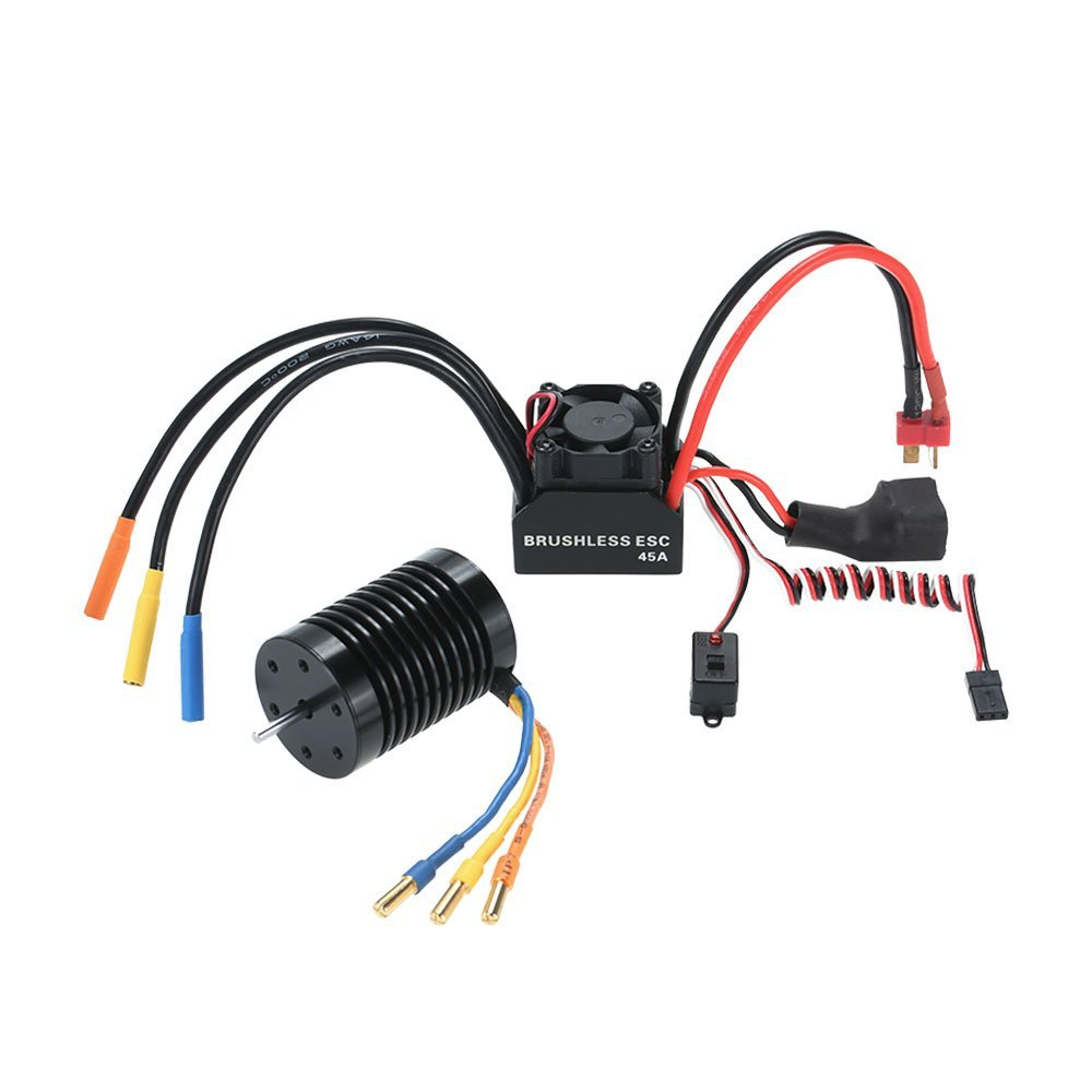 3650 3930KV 4P Sensorless Brushless Motor 45A Brushless ESC Electronic Speed Controller w/ 6V/2A Switch Mode BEC for 1/10 RC Car sensorless 35a brushless esc electric speed controller for rc car racing set ft