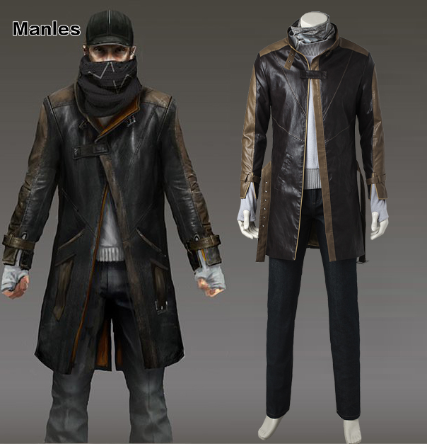 Aiden Pearce Cosplay Costume Watch Dogs 1 Cosplay Game Suit Black