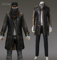 Aiden Pearce Cosplay Costume Watch Dogs 1 Cosplay Game Suit Black Jacket Adult Men Clothes Full Set Halloween Outfit Custom Made