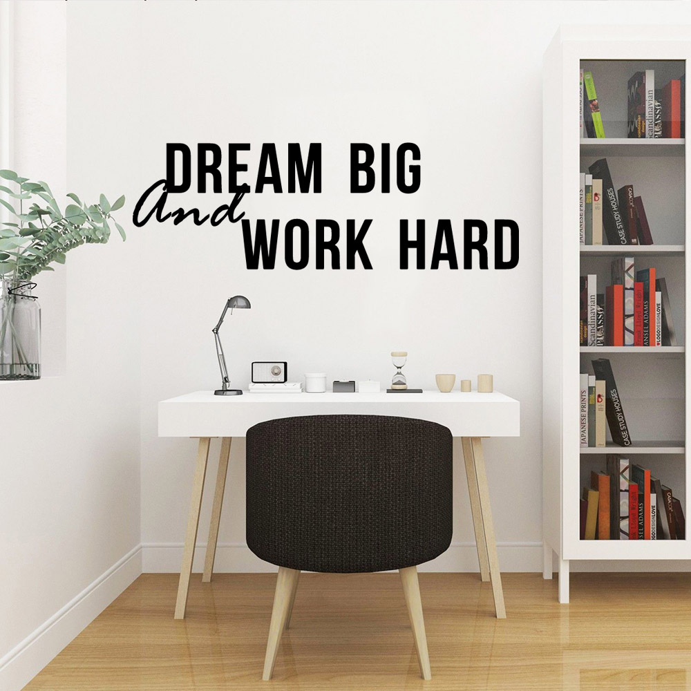 Family dream big and work hard Environmental Protection Vinyl Stickers Waterproof Wall Decals Room Decoration