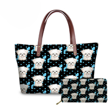 NOISYDESIGNS Maltese Floral Printed Women Handbag Cute Dog Shoulder Bag Fashion PU Leather Wallets Designer Tote Ladies