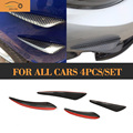 Carbon Fiber Universal Auto Car Bumper Moulding Decorative Fins Canards Front Sticker Splitter For All Cars 4pcs/set Car Styling