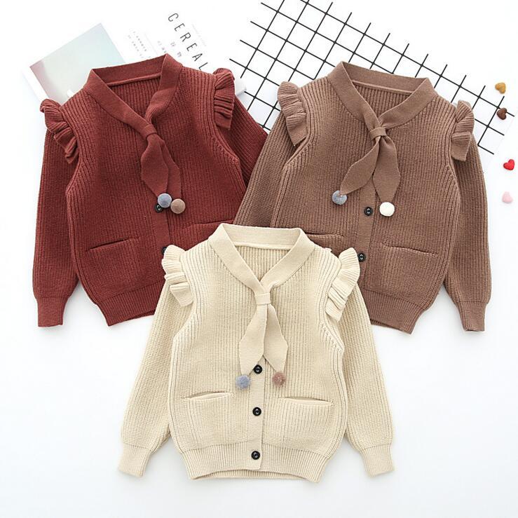 lovely baby girls flying sleeve sweater top cardigan clothing toddler kids girls pom pom pocket jacket cotton knitted clothing цена