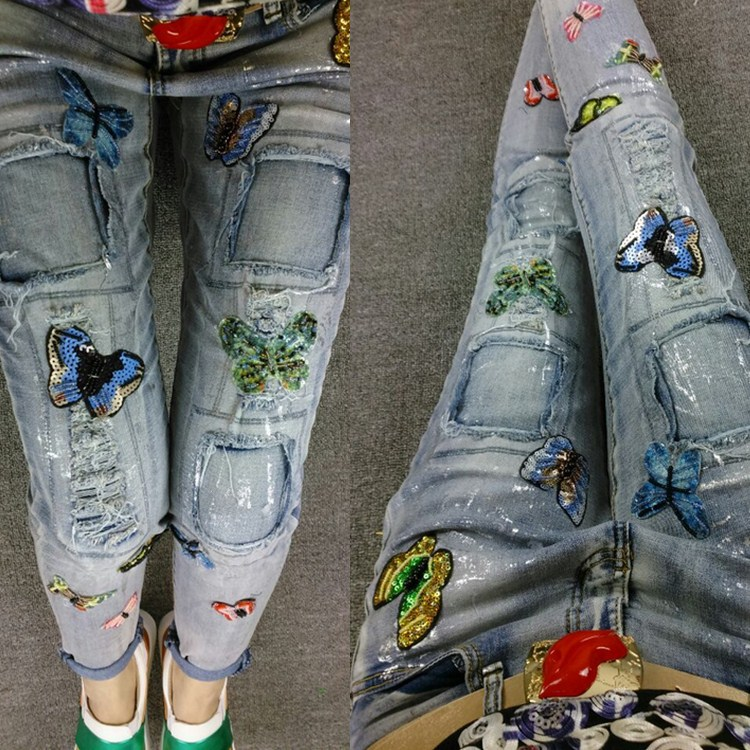 Europe European fashion all-match 2016 new spring personality labeling hole jeans female sweeping feet