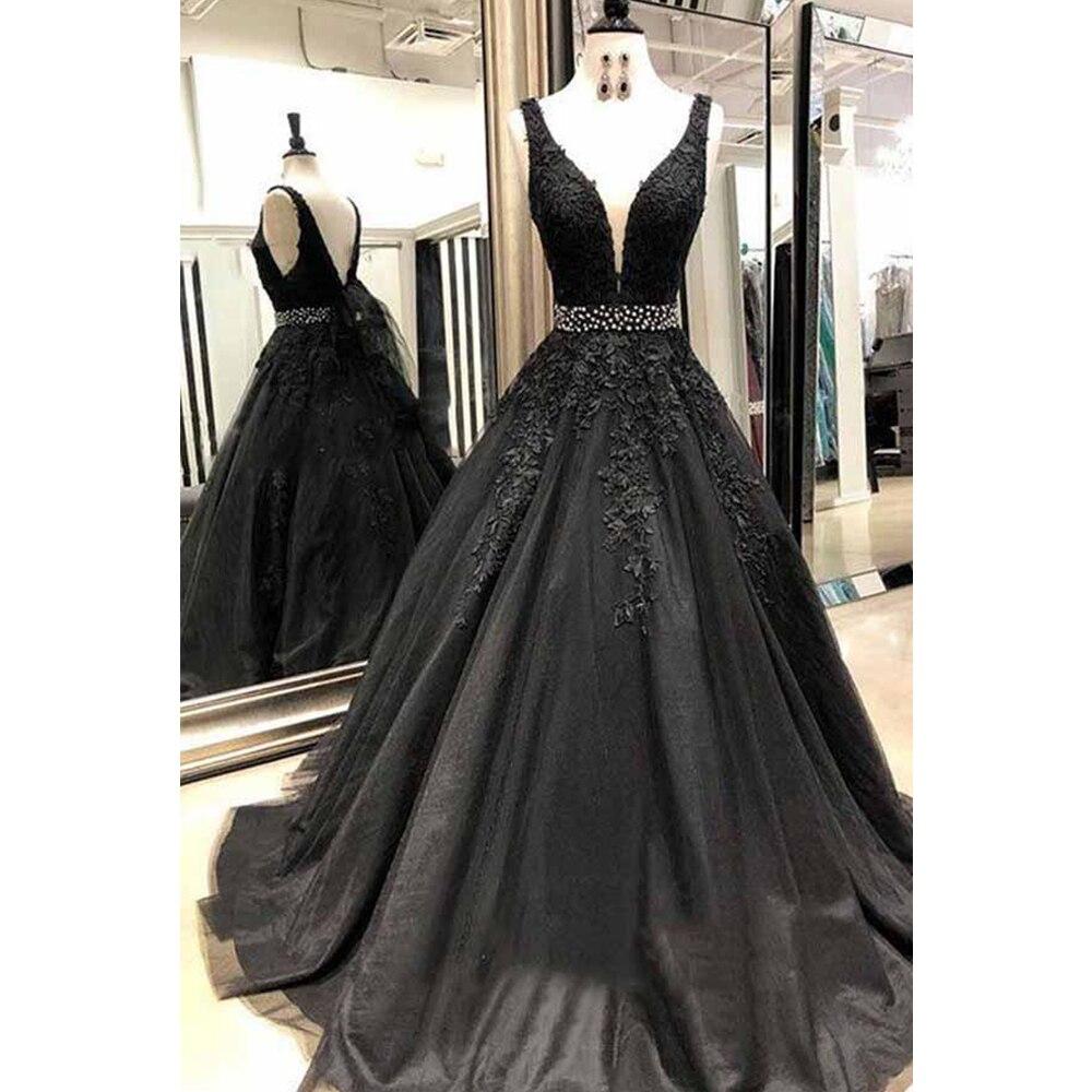 Mesh V Neck Black   Prom     Dresses   Floor Length V Open Back Applique Tulle Evening Formal Party   Dress   with Beading Belt
