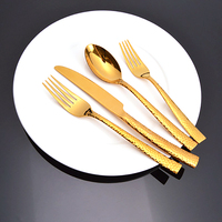 4pcs/set Stainless steel Golden Flatware set Gold Dinnerware Cutlery set Kitchen Dinner Set Dinning Fork Spoon Knife Teaspoon