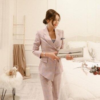 2 Pieces Set Autumn Business Plaid Formal Asymmetric Suits Women Work Office Long Sleeve Bandage Nine Pants Womens Vestidos