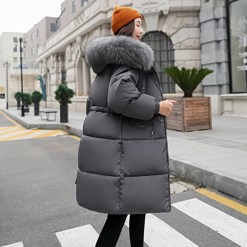 Winter Jacket Hooded Fack-Fur-Collar Women Parka Fashion Slim Cotton Long-Sleeve New-Arrival