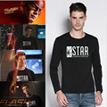 Mens Black Star Lab Letter Print Long Sleeve T Shirt Men Novelty T-shirt Man Tshirt Boys Clothes Anime Comics The Flash Arrow