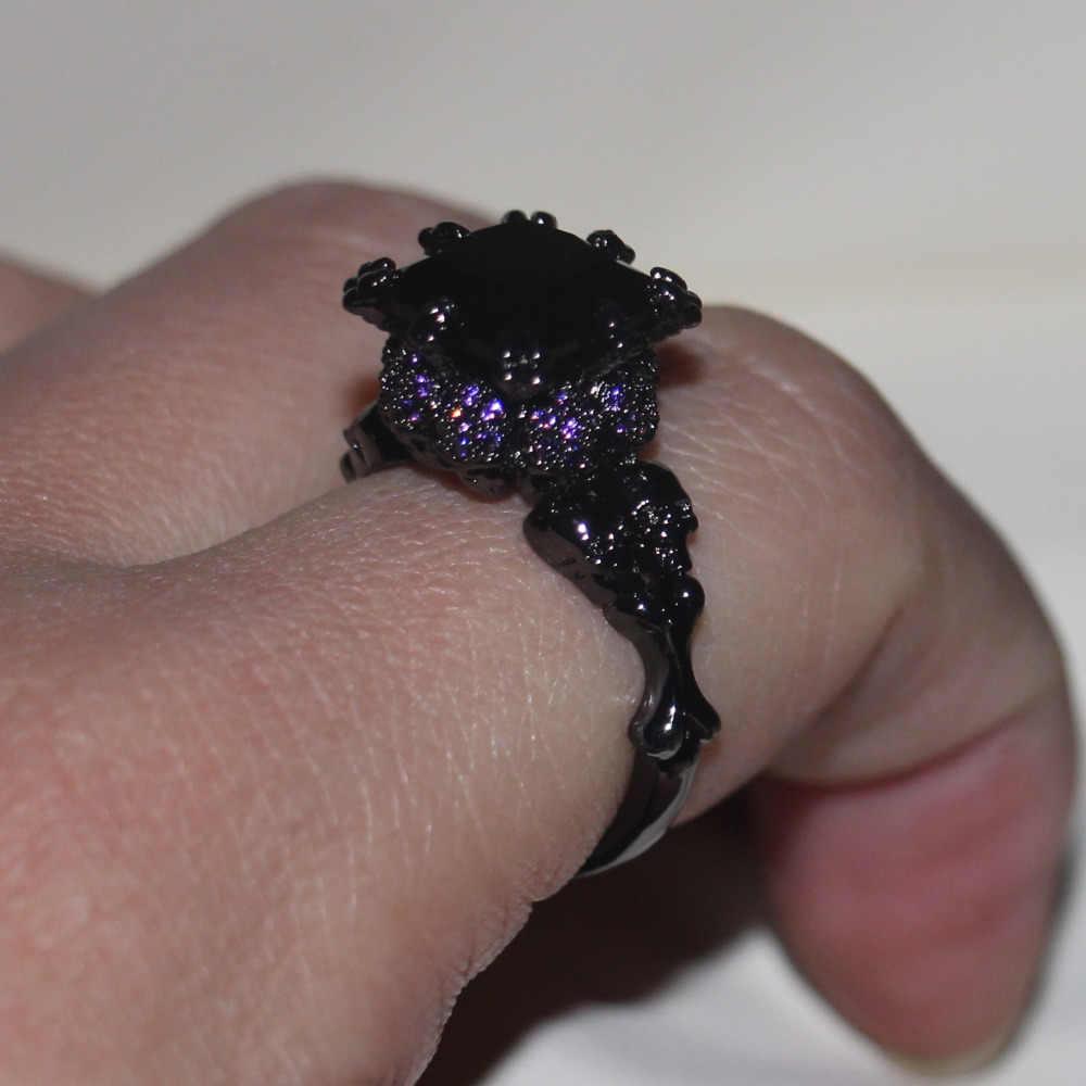 Victoria wieck legal jóias vintage 10kt preto ouro cheio preto aaa zircônia cúbica feminino casamento crânio anel de banda presente Size5-11