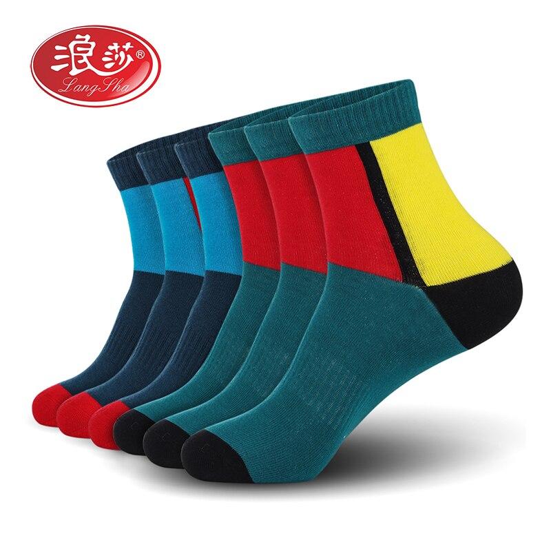 Men Cotton Socks Brand Man Sport Socks Colorful Men Socks (6pairs/lot) Plus Size (EU 39-46) (US 7.0-12.0) 6pais/lot Langsha