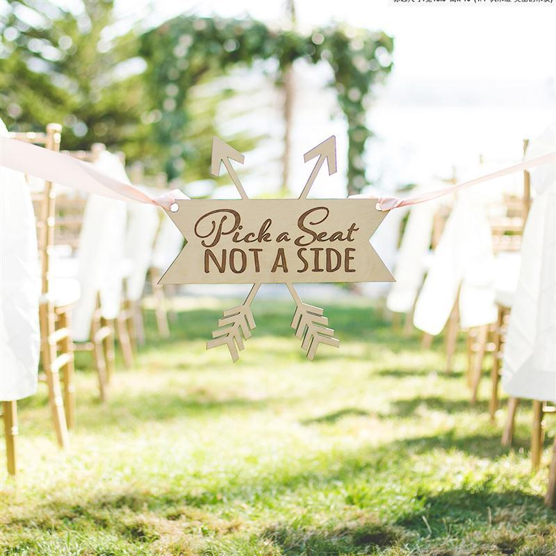 Wooden Pick A Seat Not A Side Rustic Wooden Wedding Ceremony Sign ...