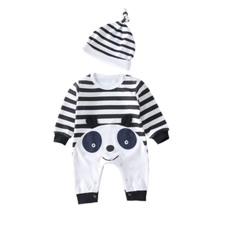 Baby Kids Clothing Boy Sets Cotton Soft Lovely Panda Style Striped Boy Girl Jumpsuit+Cap 2pcs Suit Infant Bebes Costumes