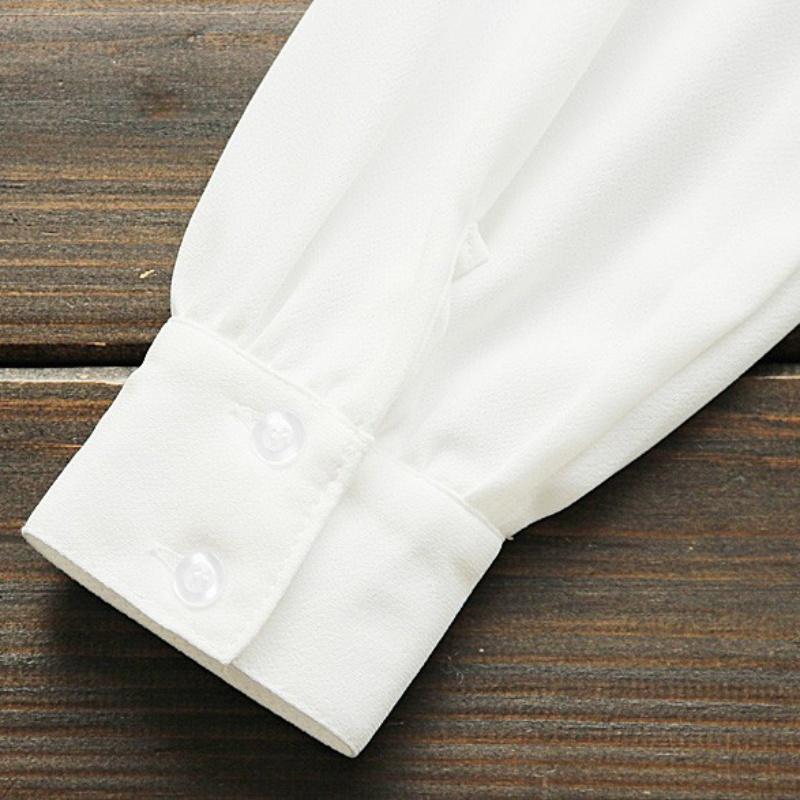HTB1UgHEQXXXXXcYapXXq6xXFXXXr - Korean Women Elegant Bow Tie White Blouses Clothing