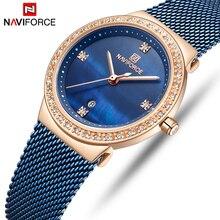 NAVIFORCE נשים של שעונים קוורץ שעונים נירוסטה אישה שעון גבירותיי שעונים למעלה מותג יוקרה Relogio Feminino כחול
