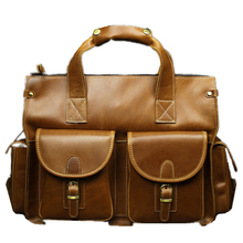 genuine wax oil light cowhide leather dress man's business Retro yellow briefcases High-capacity travel soft laptop tote bags