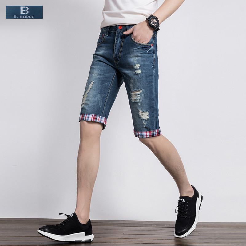 [EL BARCO] New Hot Denim Cotton Ripped Shorts Jeans Men Summer Bermuda Pockets Solid Blue Male Casual Shorts Plus Size 28-38