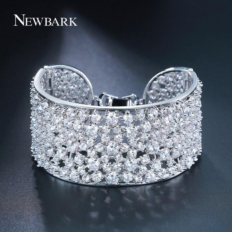 Newbark Cubique Zircon Bracelet Large De Mode Chaude Mousseux Plein Strass Élégant De Mariage Bracelet Femmes Bijoux