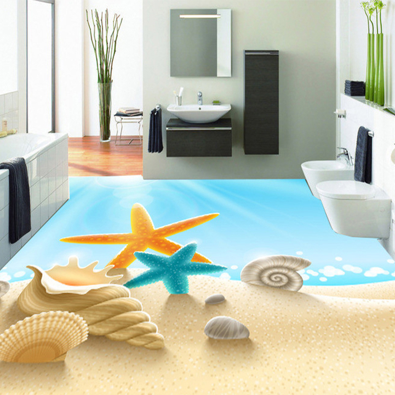Custom 3D PVC Floor Mural Wallpaper Sea Beach Shell Photo Mural Wall Paper Self Adhesive Anti-Slip Floor Sticker Room Decor environmentally friendly pvc inflatable shell water floating row of a variety of swimming pearl shell swimming ring
