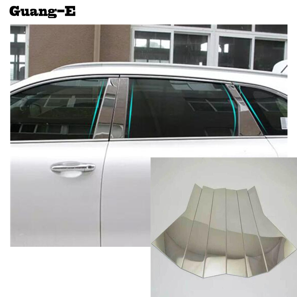 Painstaking Styling Stick Stainless Steel Car Garnish Pillar Window Middle Strip Trim Frame Lamp 6pcs For Kia Sorento L 2015 2016 2017 Up-To-Date Styling Chromium Styling Automobiles & Motorcycles