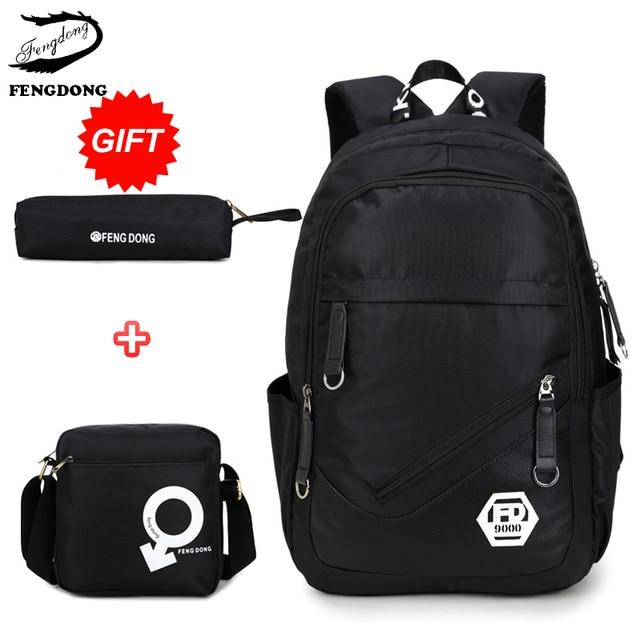 Fengdong 2018 3 комплекта школы студенты сумка для подростков мальчиков водонепроницаемый детей Для мужчин рюкзак мужской пенал Mochila Bagpack обновления