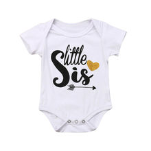 Summer T-shirt-Big/Lil Sis- Kids Baby Girls Romper Matching Clothes Tops T-shirt Tee Toddler Girl Clothes Short Sleeve Cotton(China)