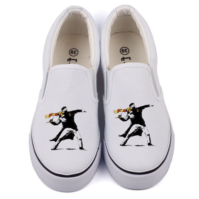 Funny Pop Art Print Anime Fans Canvas Shoes Hip Hop Adults Espadrilles  Loafers Street Art Graffiti Casual Slip On Zapato Hombre 01d614a0b86