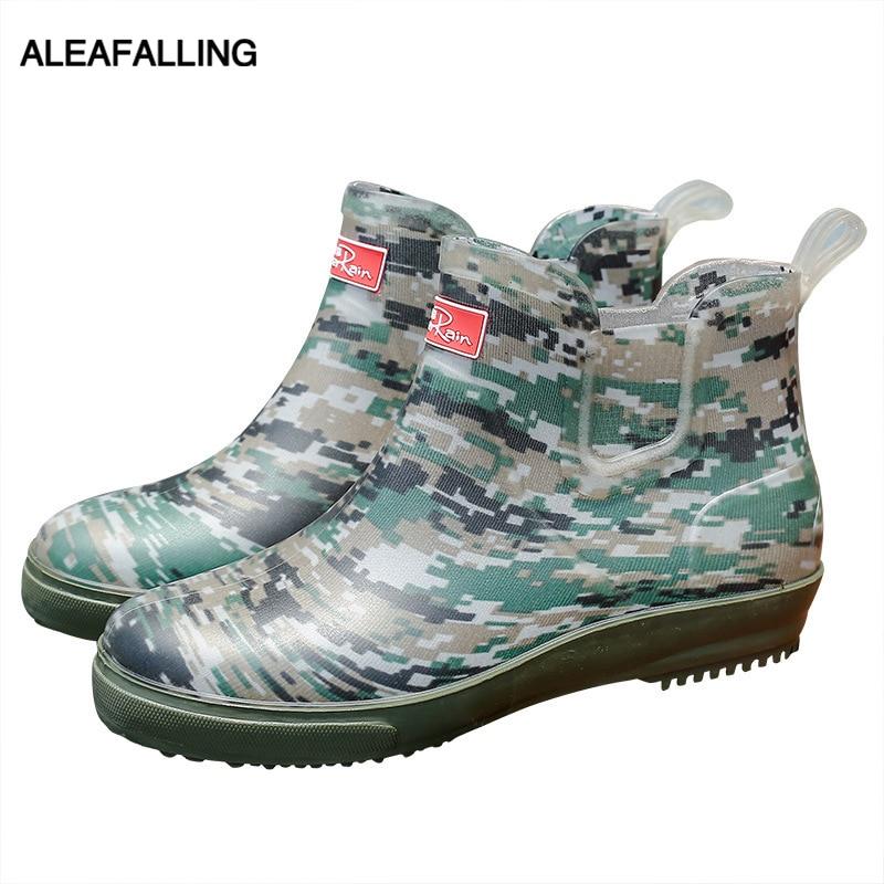 Aleafalling Armee Regen Stiefel Wasserdicht Flache Schuhe Frau Regen Frau Wasser Camouflage Gummi Stiefeletten Slip Auf Botas 201941
