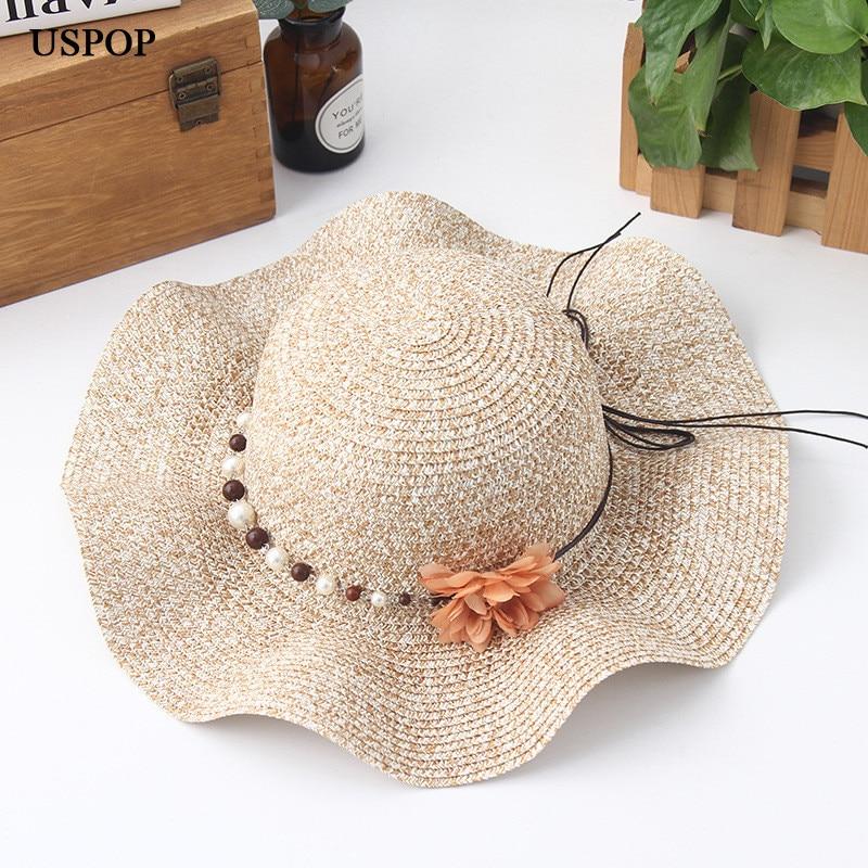 2018 Modes sievietes ziedu saules cepures roku darbs salmu vilnis - Apģērba piederumi