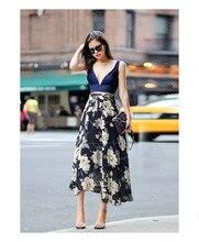 2019 Summer Autumn Woman Chiffon Skirt Plus Size Flowers  Fashion Retro High Waist Elasticity Irregular Long