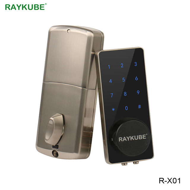 RAYKUBE قفل الباب الالكتروني كلمة السر رمز بلوتوث APP فتح اللمس لوحة المفاتيح التحكم في الوصول قفل لأمن الوطن