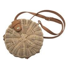 2019 round small bag rattan hand-woven bag fashion casual straw bag quality craft woven handbag beach bag