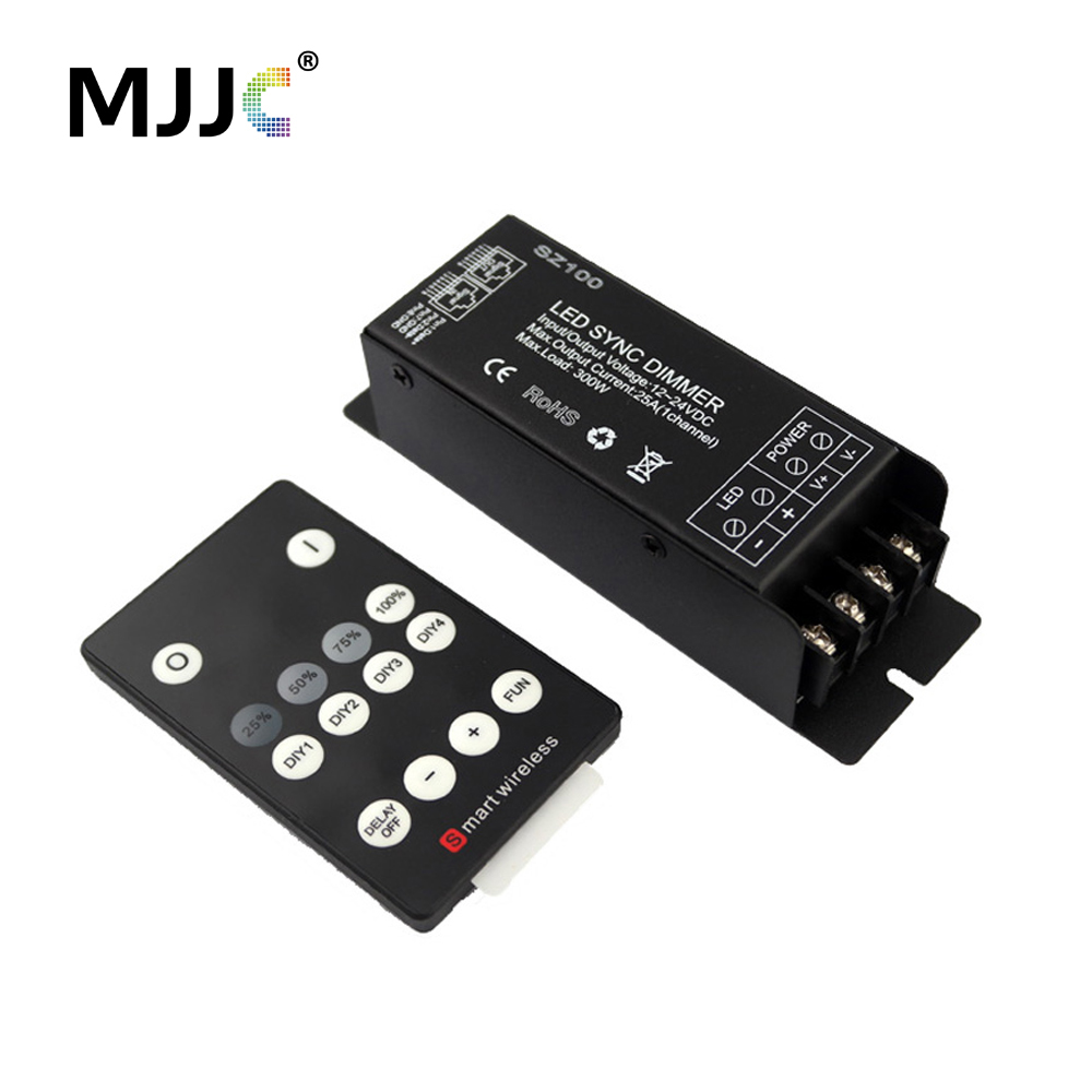 LED Dimmer 12V 24 Volt 300W PWM Wireless RF LED Dimmer Switch ON OFF with 14 Keys Remote for Single Color LED Strip Light