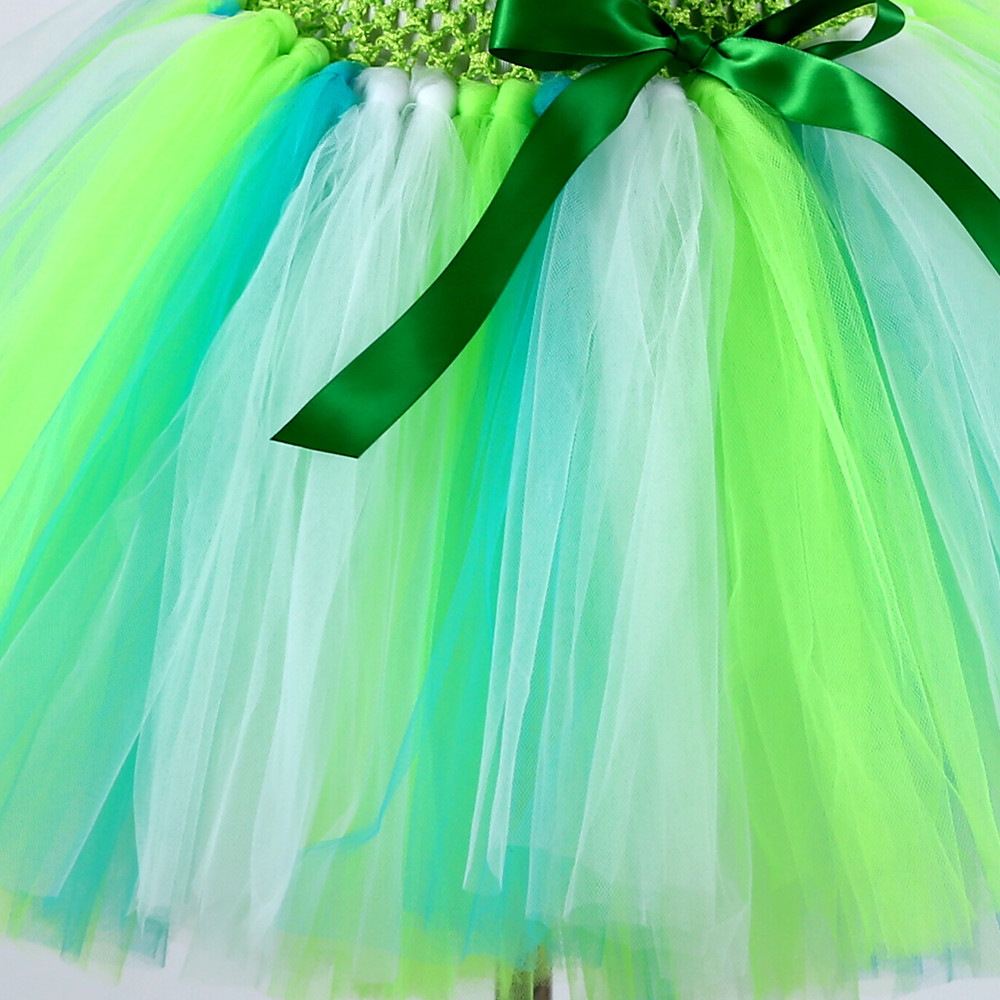 Princess Tutu Cute Cartoon Girls Tulle Dress Green Birthday Party ...