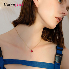 Carvejewl Korea design cute red heart Pendant Necklace teen girl Gift romantic short chain drop shipping women jewelry