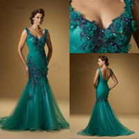 free shipping vintage flowers Special Sexy prom Gown 2018 maxi vestidos formales long Beaded Mermaid Mother of Bride dresses