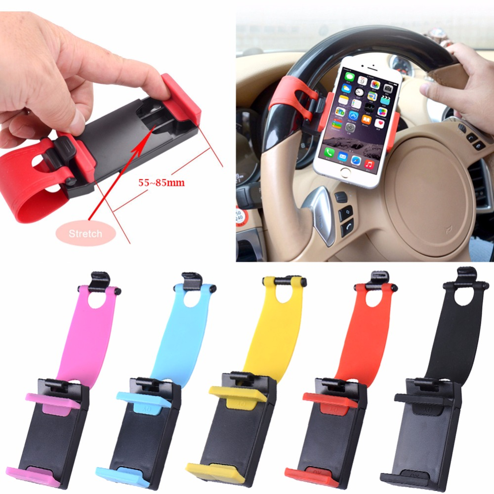 Universal steering wheel Socket Cell Mobile Phone Holder Car Support for iphone for xiaomi GPS mount Clip rubber 55~85mm universal cell phone holder mount bracket adapter clip for camera tripod telescope adapter model c