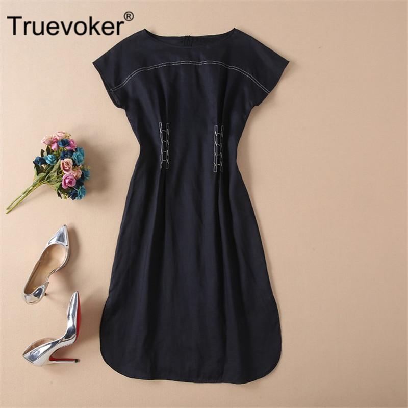 Truevoker Designer Summer Dresses Women's High Quality Slash Collar Pure Dark Blue Rivet Casual Ramie Vestido Robe Femme Ete