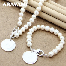 Jewelry-Sets Bracelet Pearl Necklace Pendant Silver-Color Round Simulated-Pearl Wedding