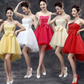 2017 new arrival short prom dress for women front short long back red yellow hot pink formal gown sexy off shoulder  in stock
