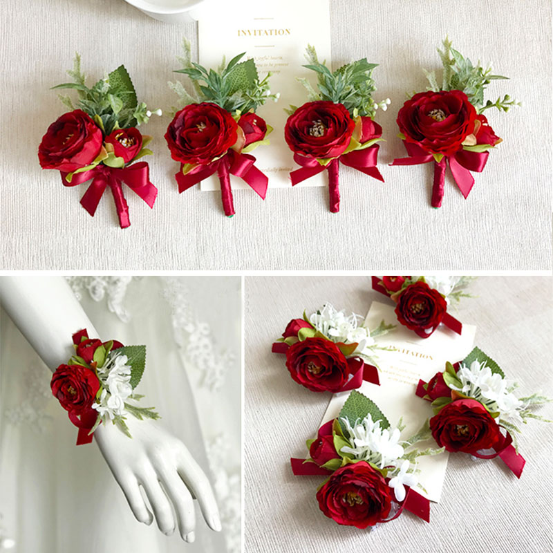 wedding wrist corsage boutonniere marriage  (14)