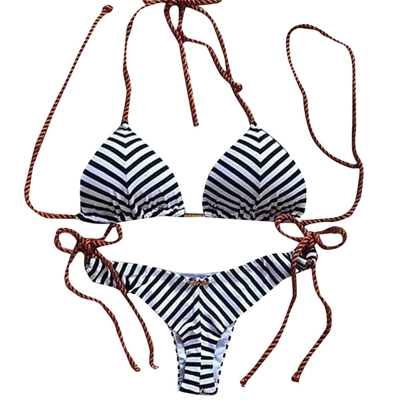 Bikinis Set Swimming Stripe Tie Knot Sexy Bikini Set High Elasticity Women Lady Swimsuit Beachwear Swimming Pool Vocationswimwear Women 2019 4sg Hot Sale 50-70% OFF