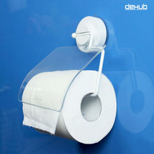 Dehub Super Sucker Suction Cup Toilet Paper Holder Rollpaper Flexible With Cover Kitchen DeHUB White