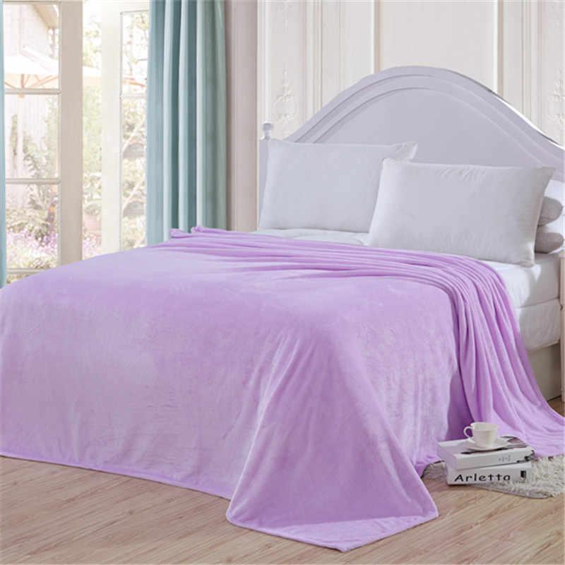 # Q cor Sólida coral Fleece cama de casal cama cobertor cobertor quente na cama vermelho Rosa azul Violeta lance sofá macio inverno