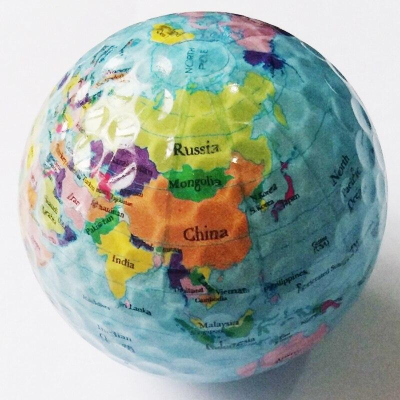 Golf balls Globe Map Balls Outdoor Sport Golf Game Training Match Competition Rubber Balls Gift 3pcs/lot free shipping